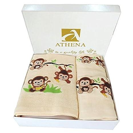 Athena conjuntos de toallas de terciopelo de regalo con mono bordado Vírgenes (100% algodón