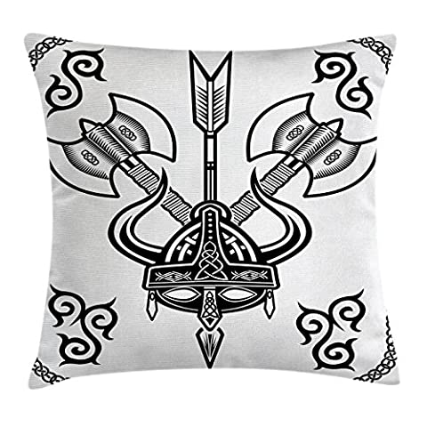 Viking Throw Pillow Cushion Cover by Ambesonne, Helmet with Horn Arrow Axe Antique War Celtic Style Medieval Battle Art Prints, Decorative Square Accent Pillow Case, 24 X 24 Inches, Black - Double Sided Battle Axe