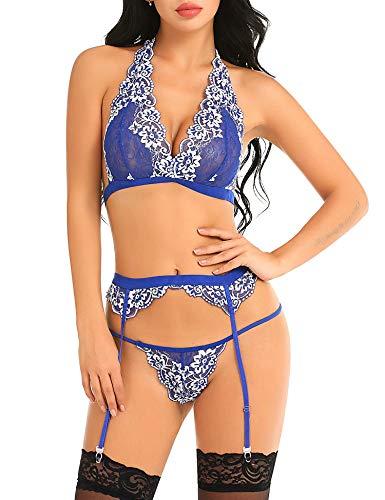 53b57a69791 Gladiolus Women Lingerie Sexy Sets with Garter Belt Lace Bra Babydoll Panty  Set
