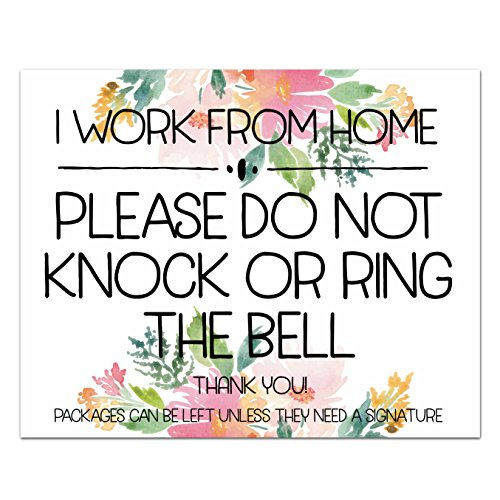 Inspire Your Art Message Magnet I Work From Home Do Not Knock Front Door Sign No Soliciting Watercolor Floral Magnetic Sign | Home Decor | 5.5X4.2 ()