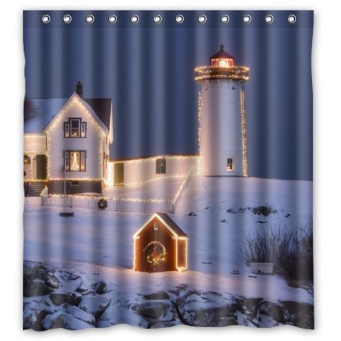 Hot Sale Christmas Lighthouse Pattern Waterproof Bathroom Fabric Shower CurtainBathroom Decor 66 X