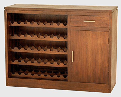 "NES Furniture Fine Handcrafted Calibri Solid Mahogany Wood Wine Cabinet, 47"", Light Pecan"