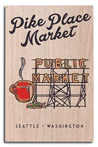 Lantern Press Seattle, Washington - Pike Place Market Sign (10x15 Wood Wall Sign, Wall Decor Ready to Hang) ()