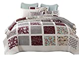 DaDa Bedding Bohemian Burgundy Seafoam Floral Patchwork Reversible Quilted Coverlet Bedspread Set - Bright Vibrant Floral Paisley & Striped Multi-Colorful White Green Print - Queen - 3-Pieces