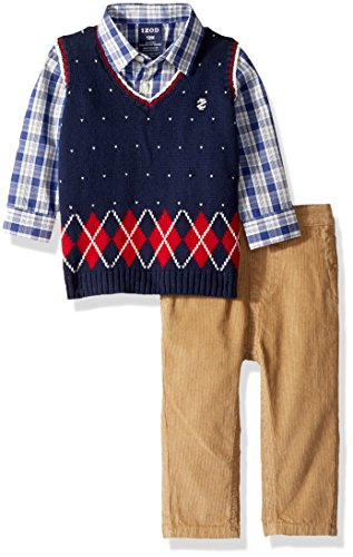 Izod Baby boys 3-Piece Sweater Vest, Dress Shirt, and Pants Set, Navy Blue, 12 Months (Shirt Sweater 3 Vest Piece)