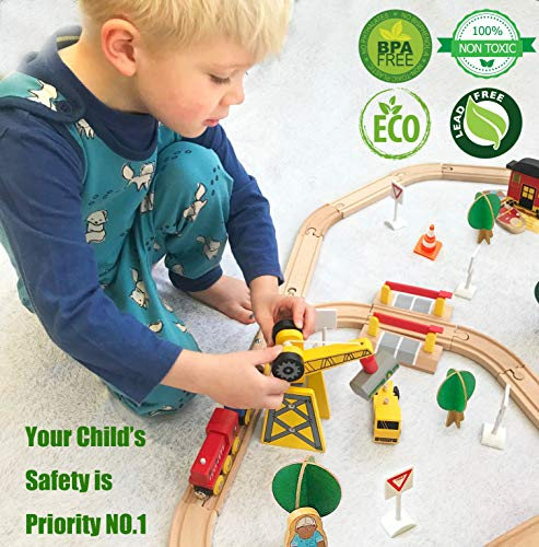 Crane Train Set- 60 Pcs Wooden Track & Exclusive Crane & Trains- Fits Thomas, Chuggington, Melissa- Gift Packed Toy Railway Kits- Kids Friendly Building Toy for 2+ Years Old Girls & Boys