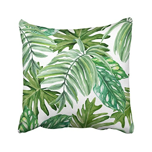 Emvency Green Leaf Exotic Leaves Rainforest Hand Watercolor Pattern White Palm Tree Water Throw Pillow Covers 20
