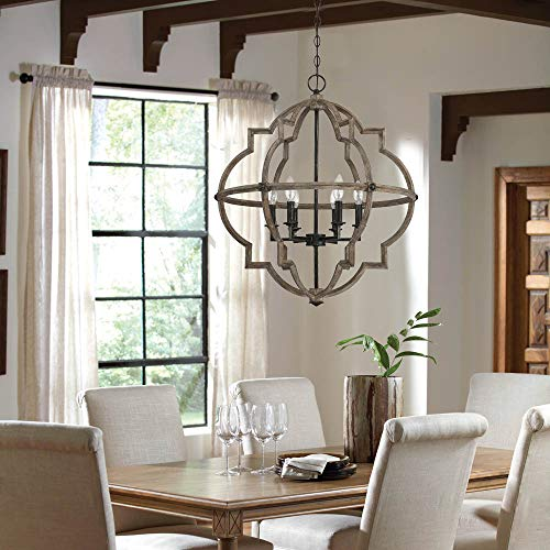 - Mega Lighting 6-Light Indoor Chandelier, Foyer Wood with Stardust Accents, Flush Mount Ceiling Pendant, Ideal for Bedroom Dinning Room Living Room