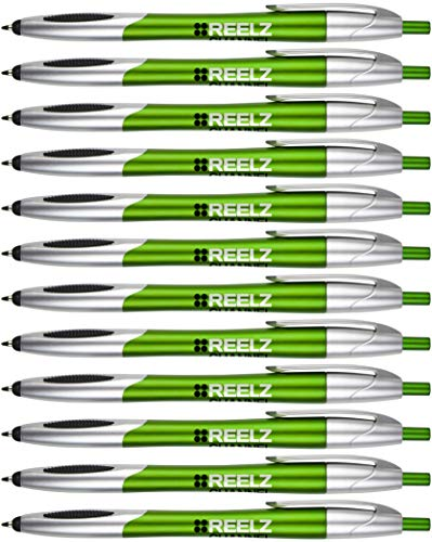 The Glide Ballpoint Pen with Stylus. Click action Custom Personalized Black writing ink. Full color Printed Name pens. Office with Your Logo/Message FREE PERZONALIZATION - 14 Qty (Green)