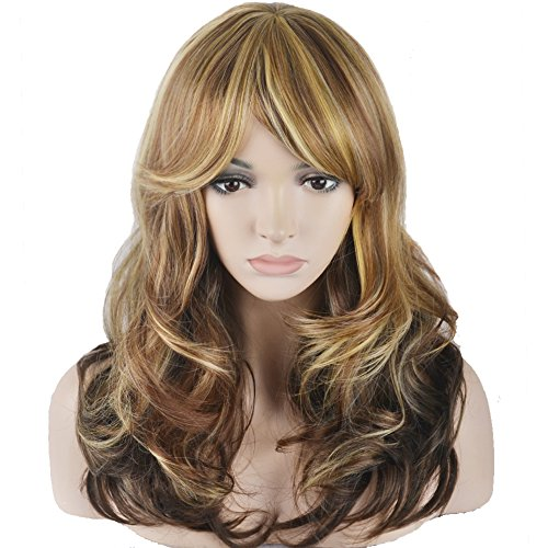 [RightOn Fashion Women Girls Sexy Long Curly Mixed Color Hair Cosplay Party Wig with Free Wig Cap and Comb (Color] (Long Sexy Wigs)