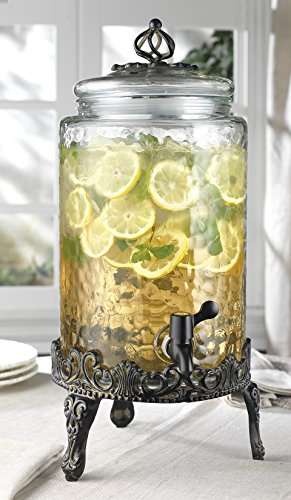 Classic Home High Quality Hammered Glass Beverage Dispenser - 2.7 Gallon, with Glass Lid and Antique Metal Stand