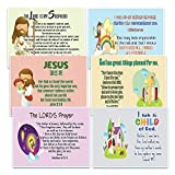 NewEights Christian Postcards Cards for Kids Boys Girls (30-Pack) - Scripture Bible Verses - Psalm 23 - Great Stocking Stuffers for Easter Baptism Thanksgiving Christmas Sunday School - Prayer Cards