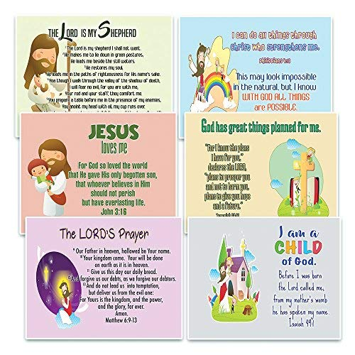 Prayer Card Postcards - NewEights Christian Postcards Cards for Kids Boys Girls (30-Pack) - Scripture Bible Verses - Psalm 23 - Great Stocking Stuffers for Easter Baptism Thanksgiving Christmas Sunday School - Prayer Cards