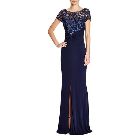 David Meister Womens Mesh Inset Short Sleeves Evening Dress Navy 6 ...