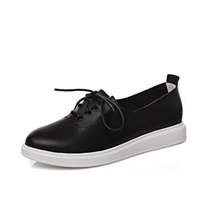 AdeeSu Womens Round-Toe Lace-Up Light-Weight Casual Leather Loafers Shoes SDC04977
