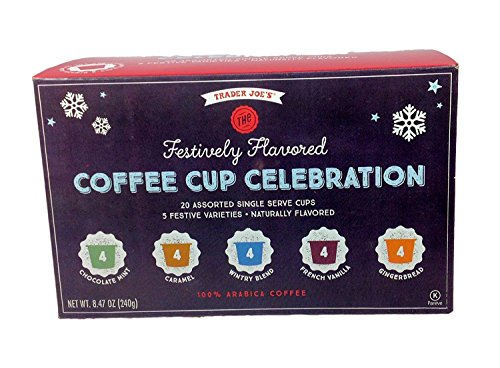 Trader Joes Festively Flavored Coffee Cup Celebration 20 Assorted Single Serve Cups, 5 Festive Varieties