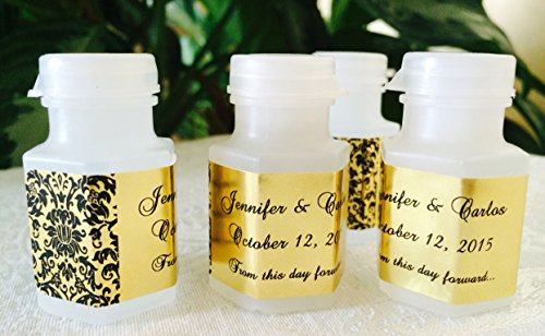 210 DAMASK GOLD FOIL PERSONALIZED BUBBLE LABELS/STICKERS for WEDDING or party FAVORS -
