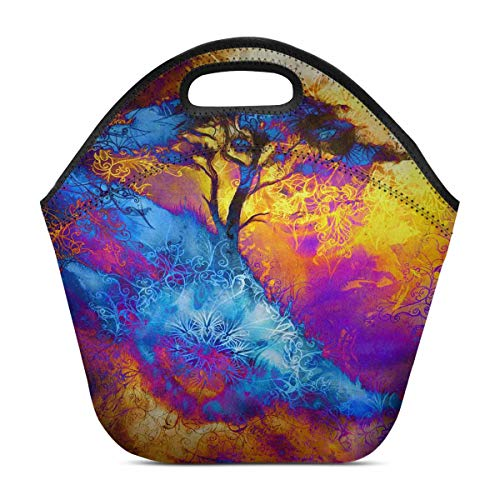 InterestPrint Painting Tree Space Landscape and Ornamental Mandala Lunchbox Lunch Bag Tote Insulated Neoprene Food Container Gourmet Tote Cooler for Women Men and Kids