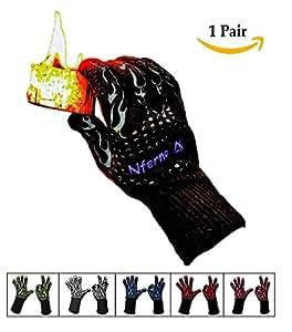 Extreme resistente al calor barbacoa guantes de cocina (color negro) revolucionaria fibras de aramida proporcionar protección hasta 932°F (500°C. forrado con algodón y estilo protectora de silicona para con. Perfecto para hornear o firepits