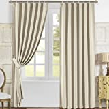 """Solid Blackout Thermal Ready Made Curtain/Drape/Treatment/Panel, Burgundy/Camel/Cream/Ivory, 55"""" x 98"""" (Individual) (Cream)"""