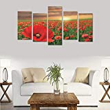 Hotel or Spa Personalized Design Sunrise Red Flowers Canvas Print Home Fashion Mural Bedroom Oil Painting Decoration 5 Piece Canvas Painting (No Frame)