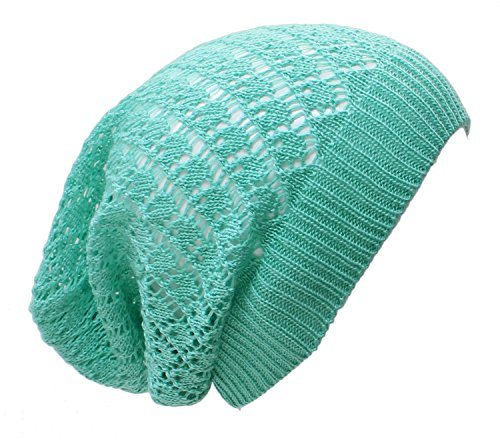 an- Fashion Lightweight Slouchy Airy Cutout Knit Beanie Hat Cap, Many Styles (Mint -