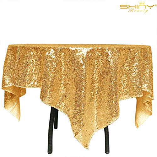 (ShinyBeauty Sequin Tablecloth-Gold Sequin Table Overlay and Sequin Tablecloth/Linen for Wedding/Party/Event/Decoration-Gold (36inx36in) (Gold))
