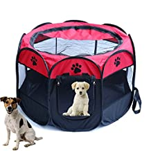"Pet Dog Playpen Portable Foldable Kennel Puppy Cat Rabbit Guinea Pig 600D Oxford Tents Crate Cage Fence 8 Panels (S,28.3""Dia x 18""H; Red)"