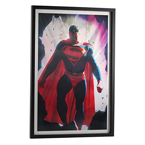 (Open Road Brands Vintage Retro Signs - Superman Poster for Walls FramedGreat for Man Caves, Wall Art, Home Decor and Much More)