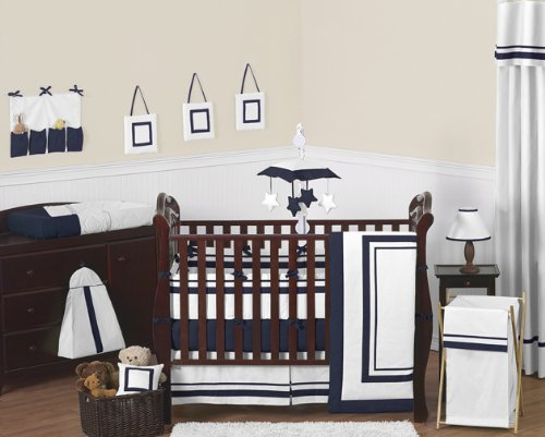 Sweet Jojo Designs Baby/Kids Clothes Laundry Hamper for White and Navy Hotel Bedding