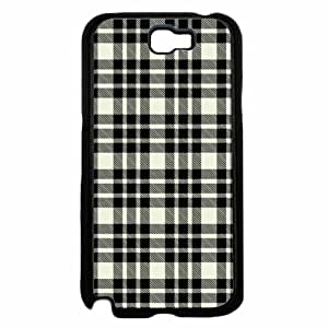 Black and White Plaid- Plastic Phone Case Back Cover Samsung Galaxy Note II 2 N7100