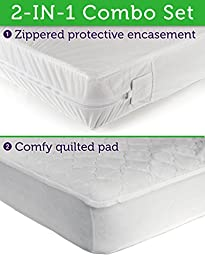 Sealy Ultimate Protection Encasement and Quilted Crib Mattress Pad 2-in-1 Combo Pack