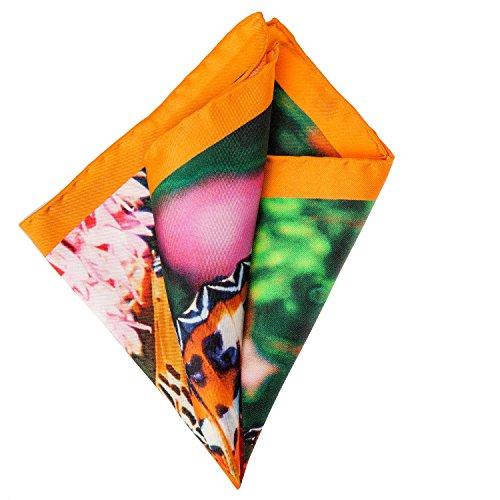 Pellens & Loick Hommes Pocket Carré Mouchoir en soie Papillons Orange