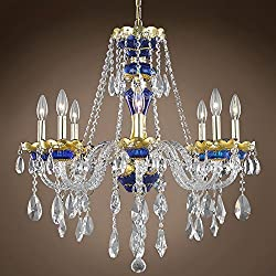 """Joshua Marshal 701271-001 - Bohemian Design 8 Light 26"""" Gold & Blue Chandelier With Clear European Crystals"""