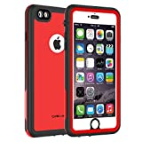 CellEver iPhone 6 Plus / 6s Plus Case Waterproof Shockproof IP68 Certified SandProof Snowproof Full Body Protective Cover Fits Apple iPhone 6 Plus (5.5') - KZ C-Red