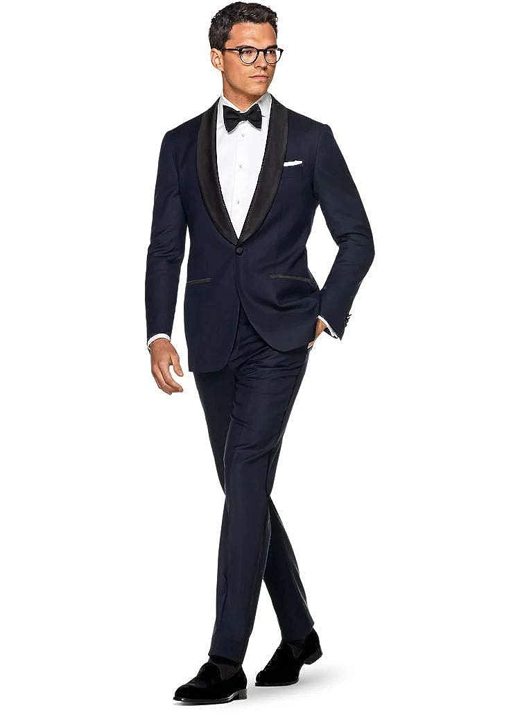 Faithclover Mens Suits Slim Fit Navy Blue One Button Formal Hemmed Suits
