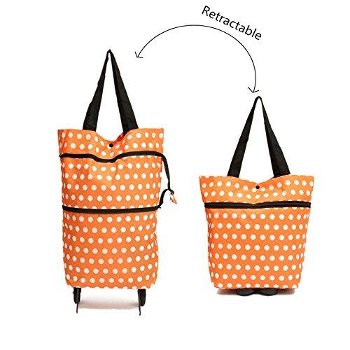 Orange Dot Light Weight Folding Shopping Bag Case Large Capacity Cart Bag Trolley Luggage Travel Tug Bag With Wheel Flower Shopping Bag (Anna Large Bowl)