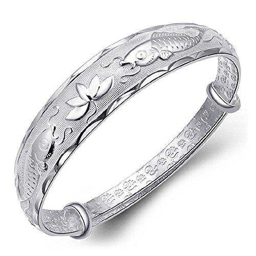 (Bracelet,Pikolai Noble Women Fashion Bright Pisces Lotus Bracelet Jewelry Wristband)