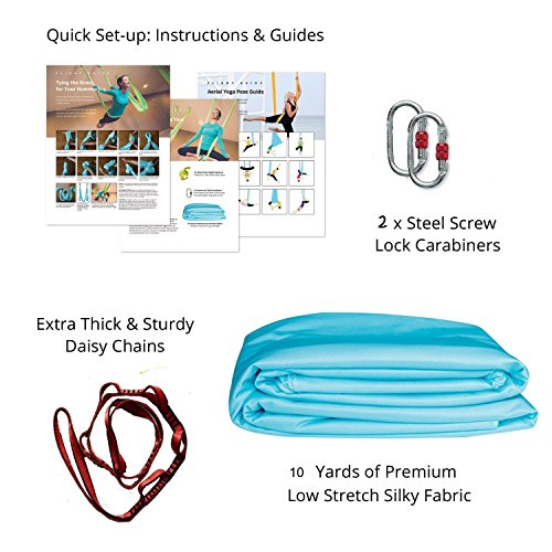 Dasking Dasking 10 Yards(10m/set) Elastic Pilates Yoga Swing Aerial Yoga Hammock includeall Hardware, Fabric & Guide (Light Blue)