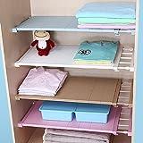Do4U Adjustable Cupboard Shelf Divider Holder Organizer Wardrobe Storage Rack (White, Length Stretch 15''-22'',Wide:9'')