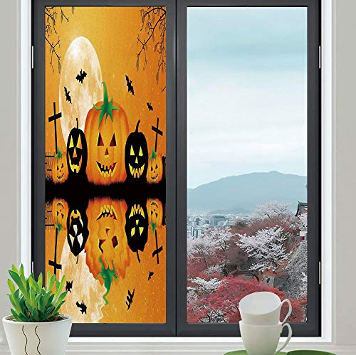 TecBillion Control Heat and Anti UV Window Cling,Halloween Decorations,Reduce Heat, Glare and Block Out Harmful UV Rays,Spooky Carved Halloween Pumpkin Full Moon with -
