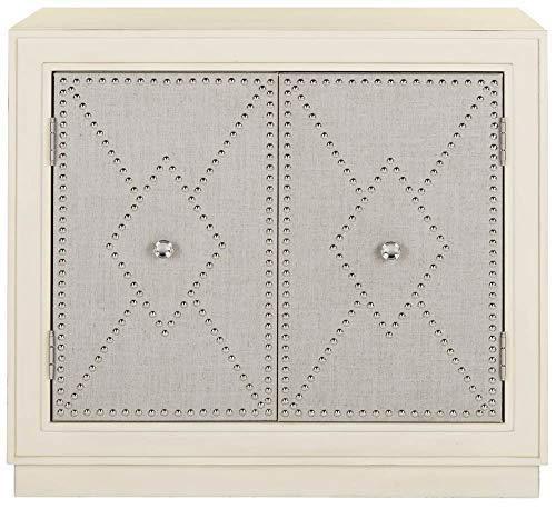 (Safavieh CHS6408B Home Collection Erin Light Grey Linen and Nickel 2 Door Chest of Drawers, Antique Beige)