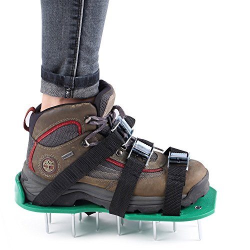 [Free Extra Accessories] ITEMporia® Lawn Aerator Shoes W Metal Buckles and 3 Straps - Heavy Duty Spiked Sandals for Aerating Your Lawn or Yard by ITEMporia