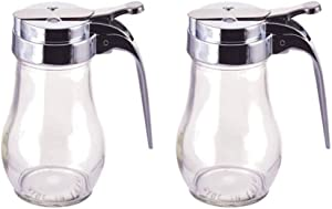 Great Credentials Syrup Dispenser with Cast Zinc Top Glass Bulb Jar, Sugar Dispenser, Retracting Spout, Dispensing Thumb-Lever, 6 OZ. Pancake House Style set of 2