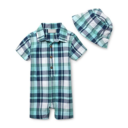 The Children's Place Baby Boys Romper and Hat Set, Spa Blue 97363, 3-6MONTHS