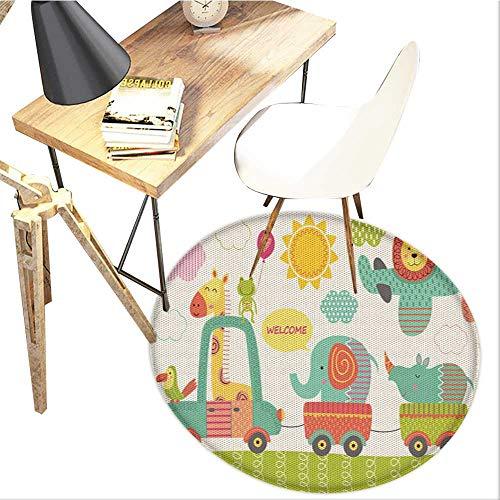 Jungle Round Area carpet,Train with Baby Jungle Animals Saying Welcome African Safari Theme Nursery Design Design Print,Living Room Bedroom StudyNon-Slip Round Carpet,3-Feet Diameter,Multicolor