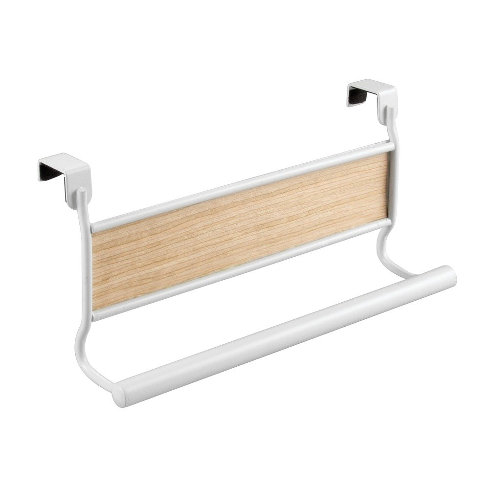InterDesign 90780 AFFIXX Peel-and-Stick Strong Self-Adhesive Real Wood Towel Holder in Light Wood Finish, White