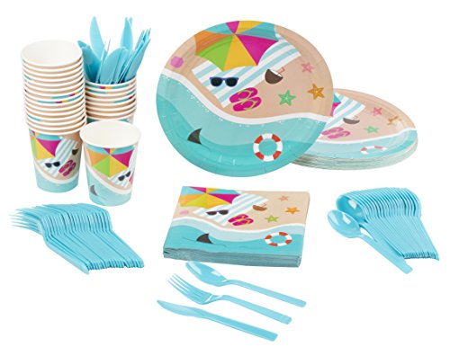 Beach Party Plate - Disposable Dinnerware Set - Serves 24 - Summer Beach Party Supplies, Includes Plastic Knives, Spoons, Forks, Paper Plates, Napkins, Cups