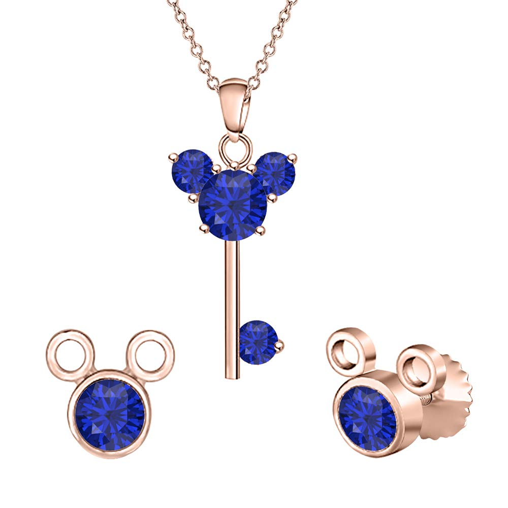 tusakha Mickey Mouse Key Pendant /& Round Stud Earring Jewelry Sets Gemstones 14k Rose Gold Over .925 Sterling Silver for Girls