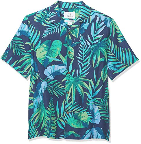 28 Palms Men's Relaxed-Fit 100% Silk Tropical Hawaiian Shirt, Navy/Aqua/Green Leaves, Large
